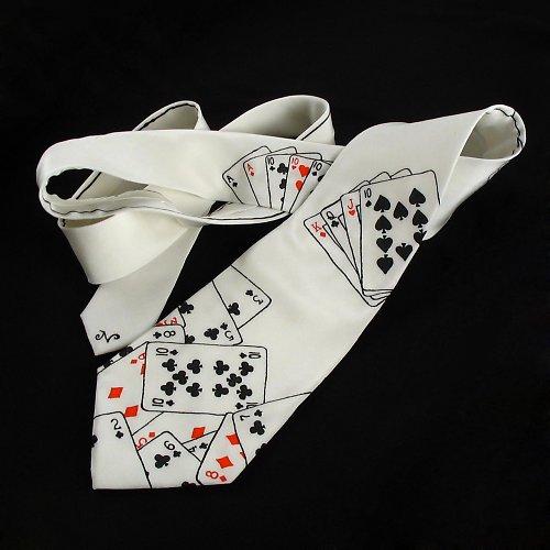 Hedvábná kravata s kartami - bílá