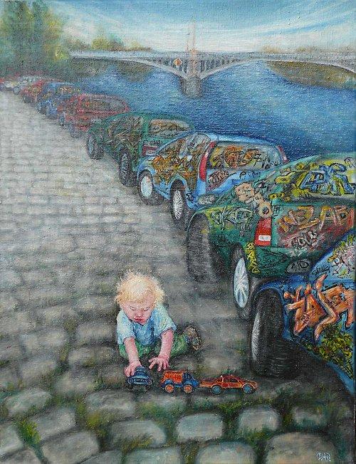 "\""Chlapec s autíčky u Jiráskova mostu\"""