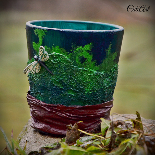 Vážky v machu - keramická nádoba/kvetinač