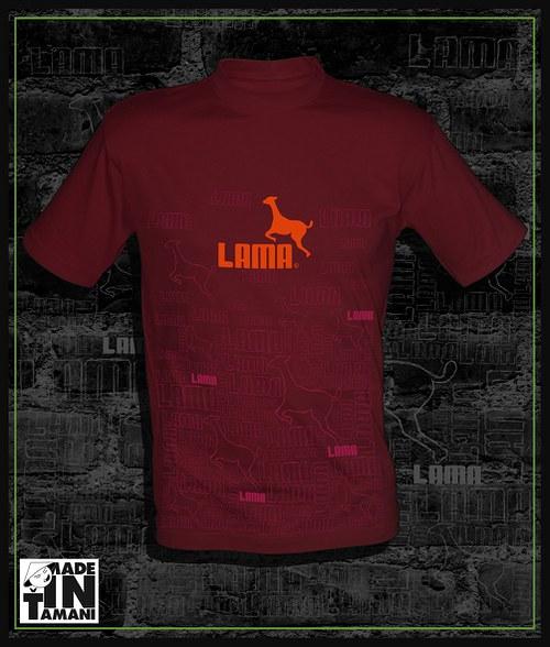 Pánské vínové tričko Lama design 11