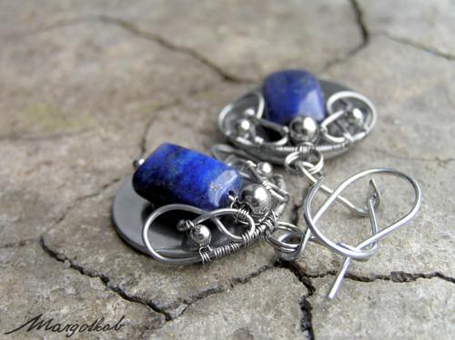 Lapis lazuli náušnice nerezové