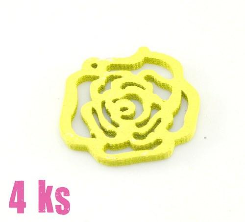 Dřevěný přívěsek - malá žlutá růže, 4 ks