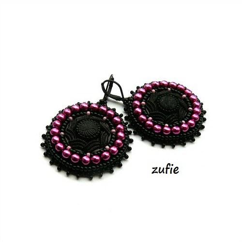 Náušnice s fialovými perličkami