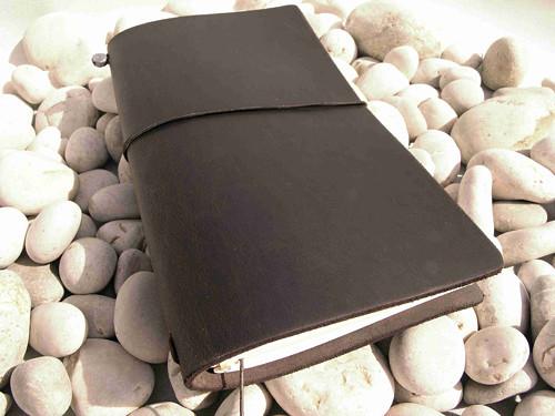 Diář / notes tmavě hnědý- kůže  16,5cmx10,5 cm