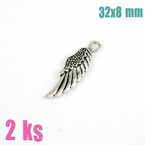Přívěsek - stříbrné křídlo (2 ks)