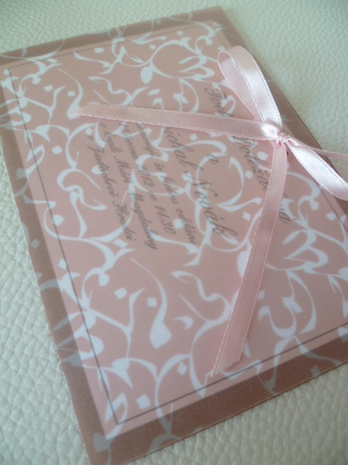 hnědé svatební oznámení,pergamenový papír orient