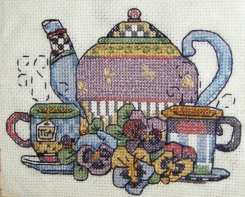 Posezení u čaje - křížková výšivka