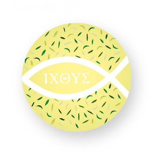 Placka s rybičkami ICHTYS žlutá s lístečky