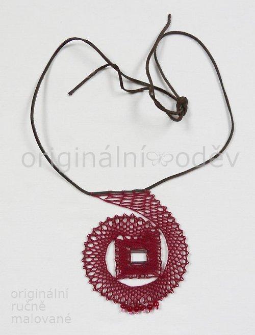 Paličkovaný náhrdelník - červená spirála