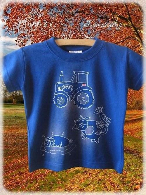 Dětské triko s traktůrkem ručně malované
