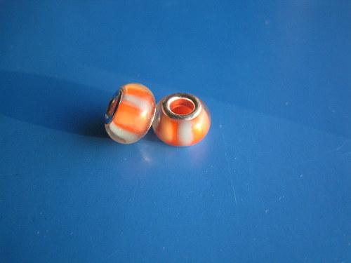 Korálky 2ks-oranžová šedý proužek