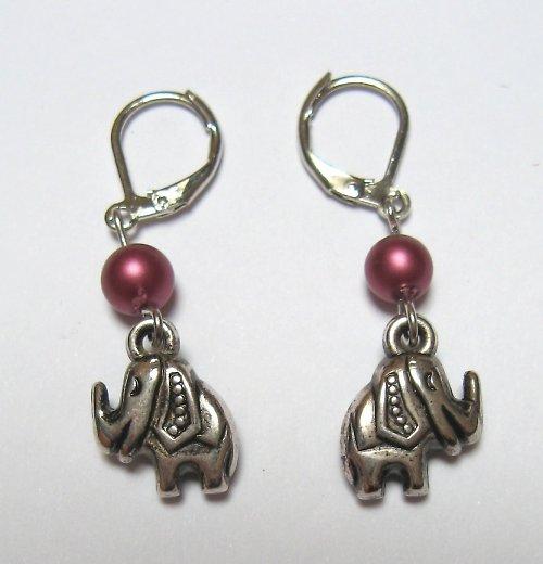 Sloni v tmavorůžové - náušnice