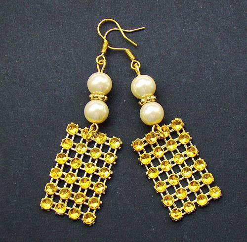náušnice perličky a zlatá