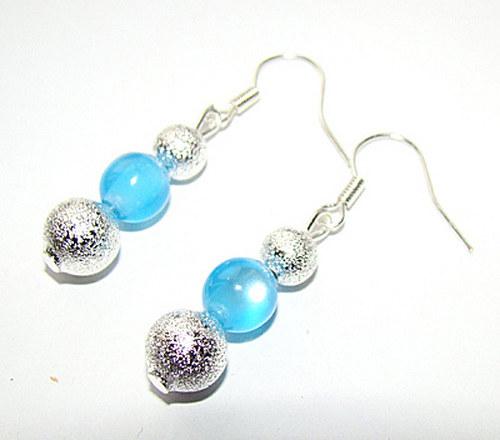 431. náušnice -  stříbrné hrubé perly a kočičí oči