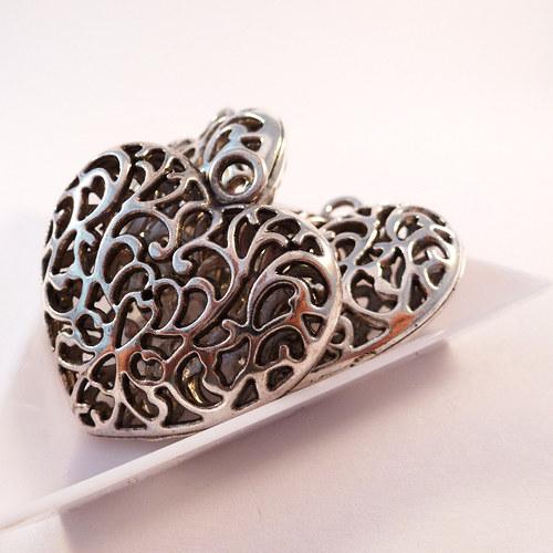 Přívěsek 3D srdce 35 mm starostříbro 1 ks