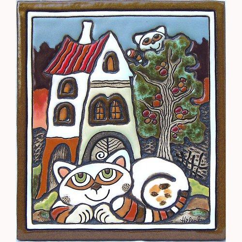 Keramický obrázek - Kočka a domek K-124-N