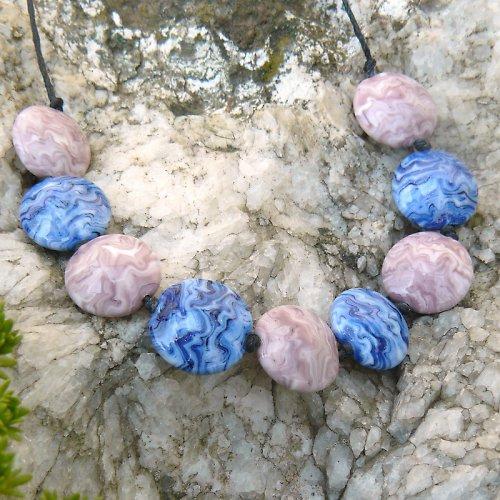 Náhrdelník -  barevné čočky - vinuté perle