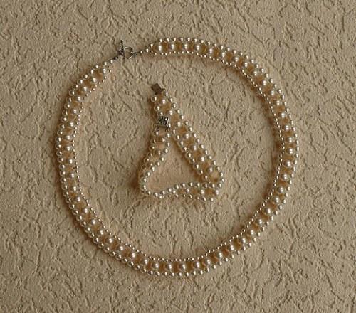 perlový komplet - krémový