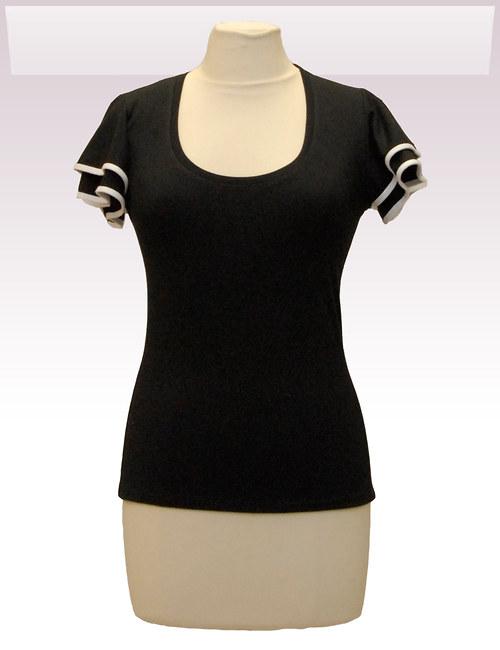 Černé tričko belaroma volánkové rukávy s bílým lem