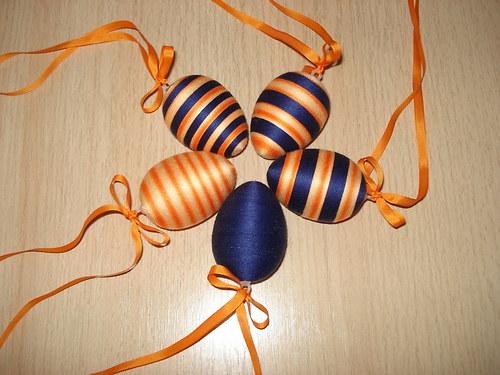 Velikonoční vajíčka oranžovo - modrá - SADA 5 ks