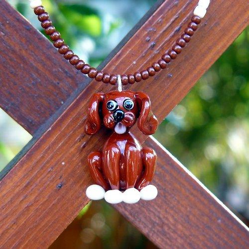 Náhrdelník pes - hnědý - vinutá perle