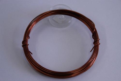 Měděný drátek 1mm - hnědý, návin 3,8-4m