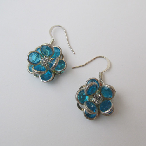 Modré náušnice - květ