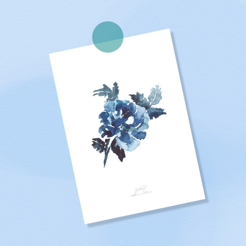 Modrý mák. Signovaný tisk do rámu A4