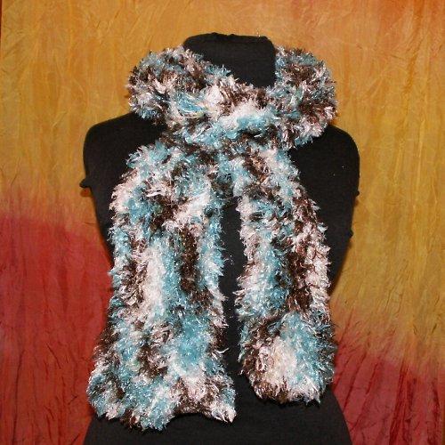 pletená šála - měkoučká - hnědo bílo tyrkysová