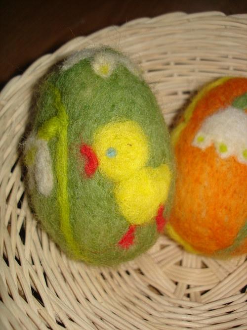 Plstěné vajíčko zelené, kuře - na objednávku