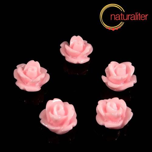 Růžička - kabošon z pryskyřice 10mm, růžová, 10ks