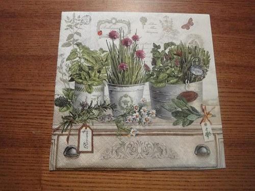 Ubrousek na decoupage - bylinky zátiší