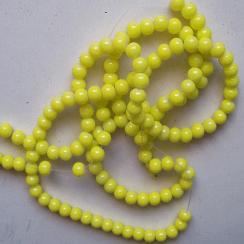 skleněné korálky LESK/ žlutá citron/ 6mm/20ks