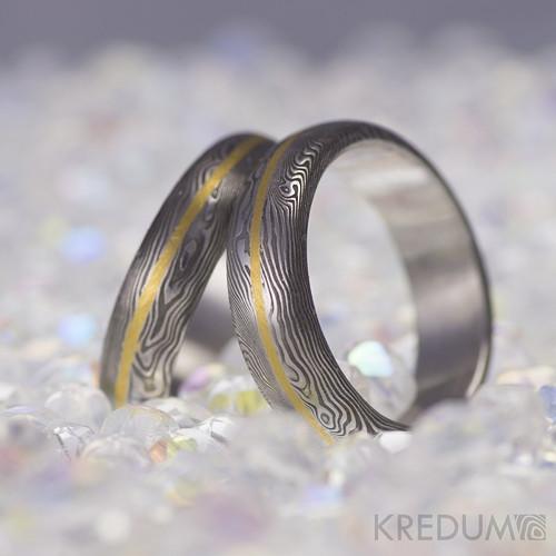 Snubní prsten ocel damasteel zlato - Golden Line