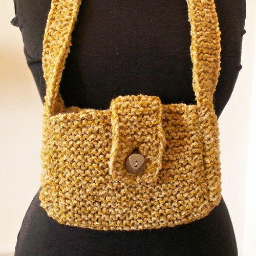 pletená kabelka - zapínání na knoflík