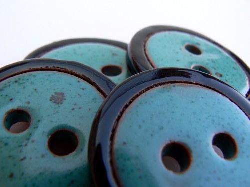Knoflík Turquoise&Black