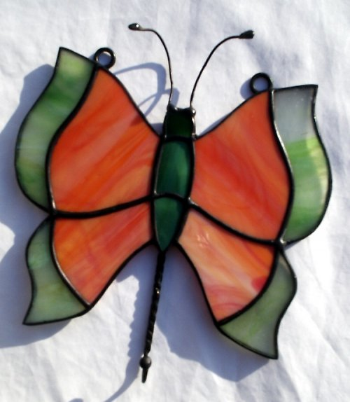 Věšáček s vitrážkou ve tvaru motýla - velký