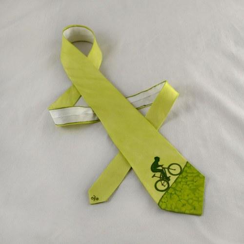 Hedvábná kravata s cyklistou světle zelená