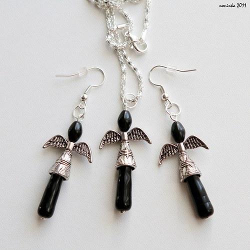 Andělé jako ochránci - náhrdelník+náušnice