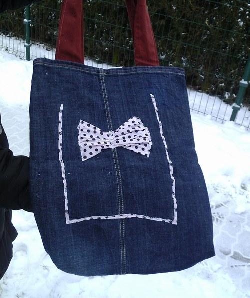 Riflová nákupní taška s mašlí - RECY