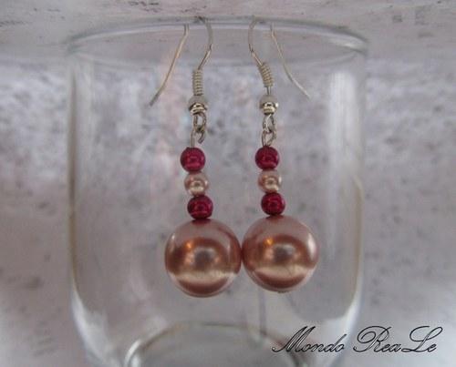Jemné náušnice - růžové voskové perle