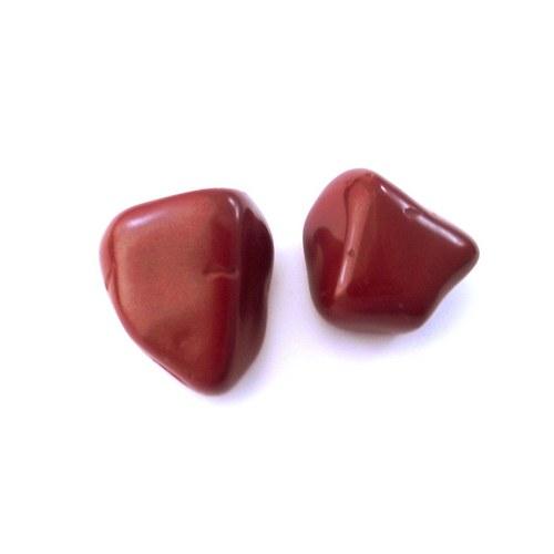 Červený jaspis - tromlovaný kámen - 2ks