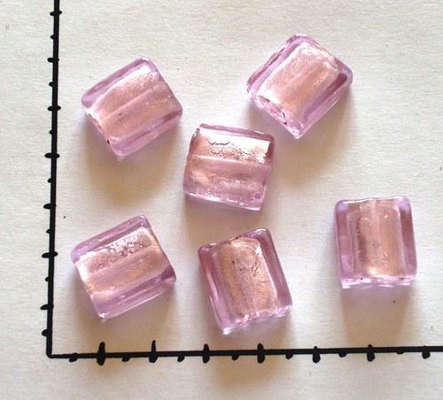 Korálky skleněné růžová, 2ks