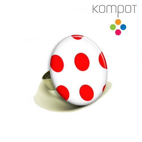 PUNTÍKATÝ RETRO prsten :: červený
