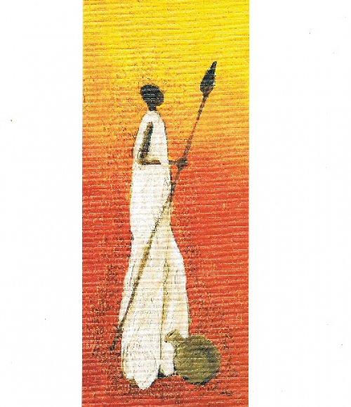 Reprodukce-tisk-Etno afričan s kopím 10x25cm-005