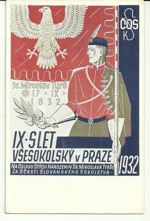 Pohlednice se Sokolskou tématikou r.1932