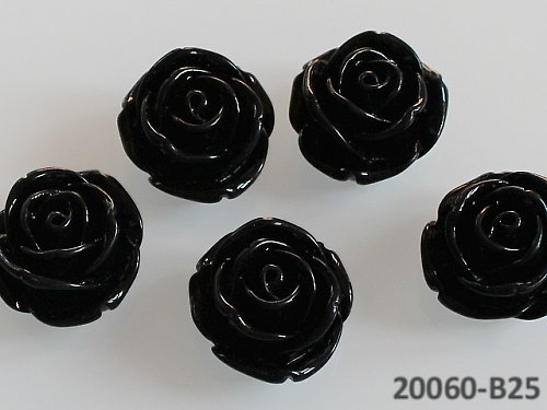 20060-B22 Kabošon květ růže ČERNÁ, bal. 2ks