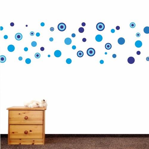 veselé puntíky - modré - samolepka