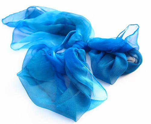 Teena - Hedvábná šifonová šála modrá