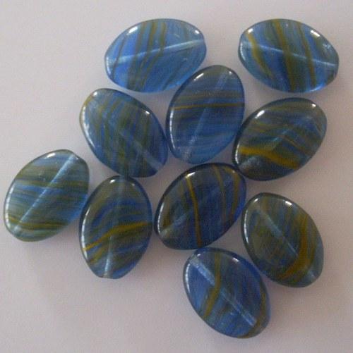 Skleněná placka - tmavě modrá žíhaná